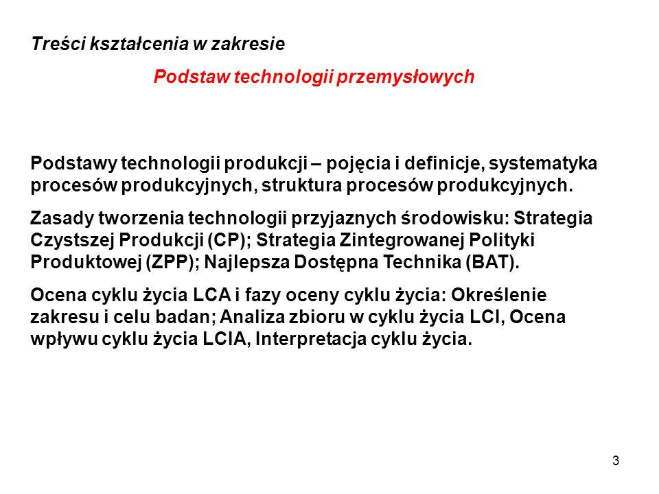 Podstawy technologii produkcji – pojęcia i definicje, systematyka procesów produkcyjnych, struktura procesów produkcyjnych. Zasady tworzenia technolog