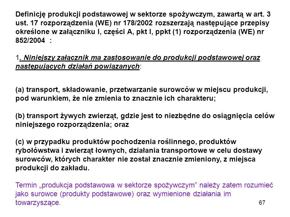 Definicję produkcji podstawowej w sektorze spożywczym, zawartą w art. 3 ust. 17 rozporządzenia (WE) nr 178/2002 rozszerzają następujące przepisy okreś