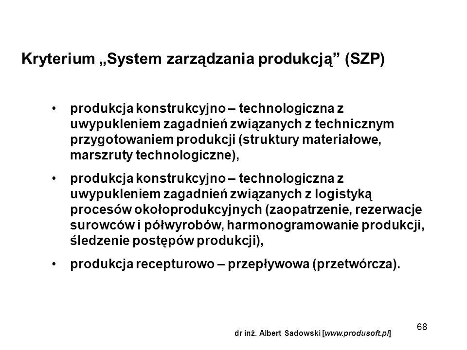 """Kryterium """"System zarządzania produkcją"""" (SZP) produkcja konstrukcyjno – technologiczna z uwypukleniem zagadnień związanych z technicznym przygotowani"""