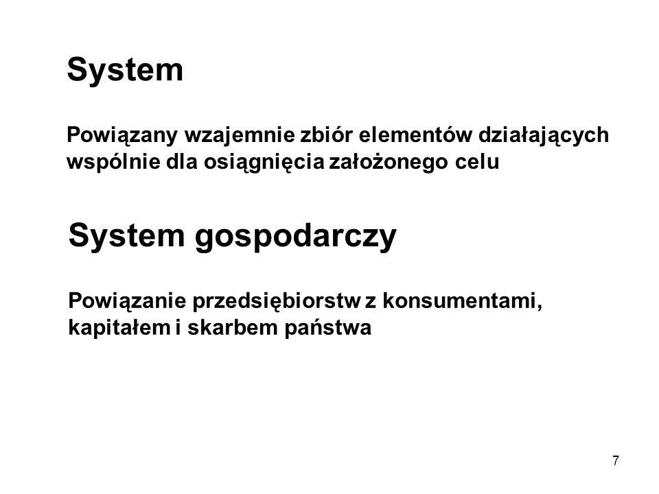7 System Powiązany wzajemnie zbiór elementów działających wspólnie dla osiągnięcia założonego celu System gospodarczy Powiązanie przedsiębiorstw z kon