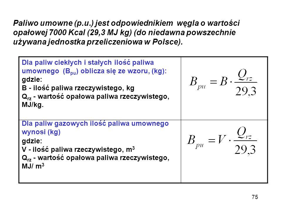 Paliwo umowne (p.u.) jest odpowiednikiem węgla o wartości opałowej 7000 Kcal (29,3 MJ kg) (do niedawna powszechnie używana jednostka przeliczeniowa w