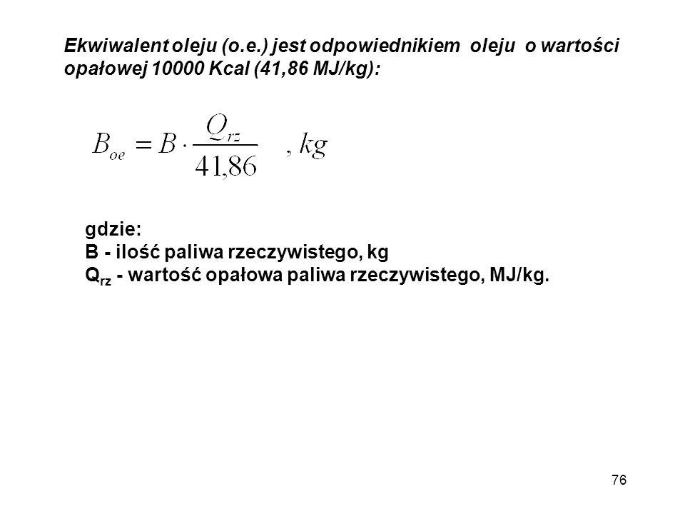 Ekwiwalent oleju (o.e.) jest odpowiednikiem oleju o wartości opałowej 10000 Kcal (41,86 MJ/kg): gdzie: B - ilość paliwa rzeczywistego, kg Q rz - warto