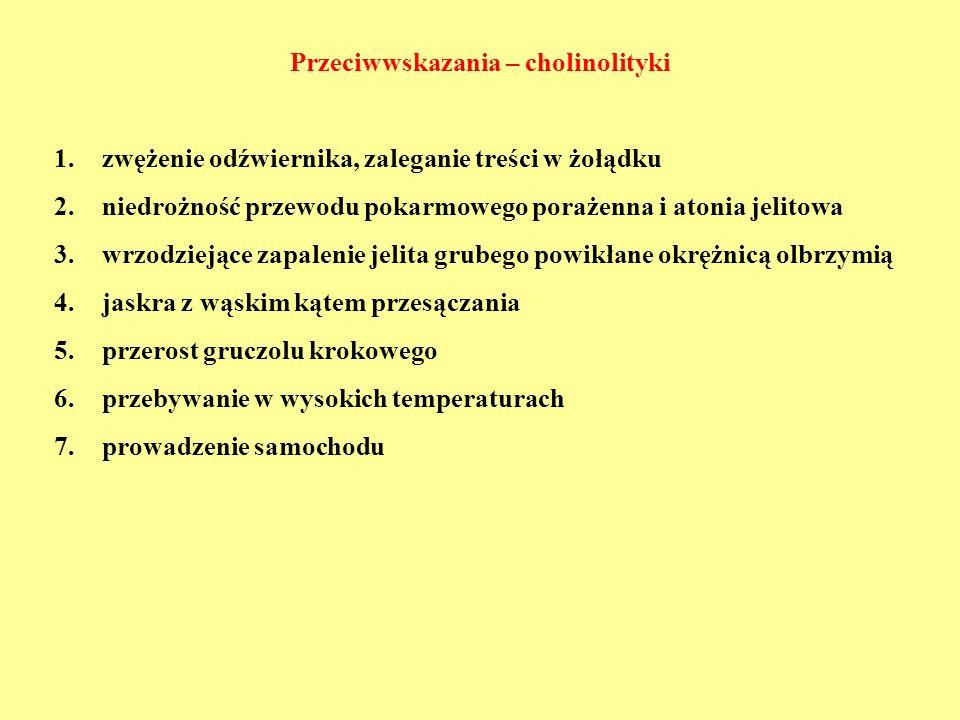 Przeciwwskazania – cholinolityki 1.zwężenie odźwiernika, zaleganie treści w żołądku 2.niedrożność przewodu pokarmowego porażenna i atonia jelitowa 3.w