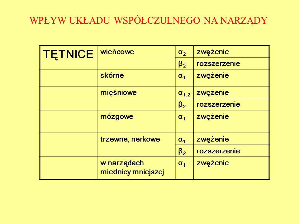 TĘTNICE wieńcoweα2α2 zwężenie β2β2 rozszerzenie skórneα1α1 zwężenie mięśnioweα 1,2 zwężenie β2β2 rozszerzenie mózgoweα1α1 zwężenie trzewne, nerkoweα1α