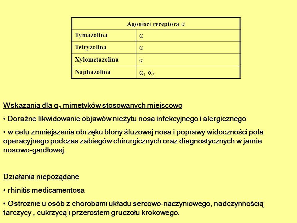 Agoniści receptora α Tymazolina α Tetryzolina α Xylometazolina α Naphazolina α 1 α 2 Wskazania dla α 1 mimetyków stosowanych miejscowo Doraźne likwido