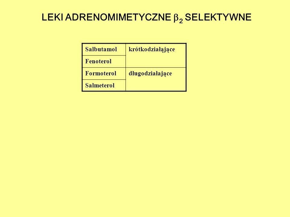 LEKI ADRENOMIMETYCZNE  2 SELEKTYWNE Salbutamolkrótkodziałąjące Fenoterol Formoteroldługodziałające Salmeterol