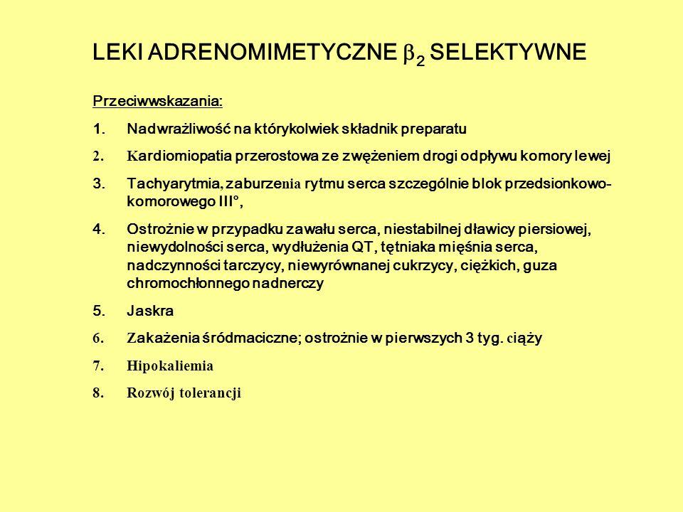 Przeciwwskazania: 1.Nadwrażliwość na którykolwiek składnik preparatu 2.K ardiomiopatia przerostowa ze zwężeniem drogi odpływu komory lewej 3.Tachyaryt