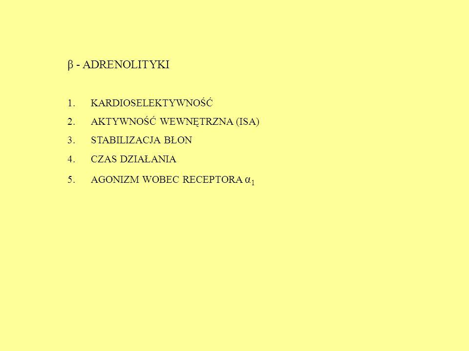 β - ADRENOLITYKI 1.KARDIOSELEKTYWNOŚĆ 2.AKTYWNOŚĆ WEWNĘTRZNA (ISA) 3.STABILIZACJA BŁON 4.CZAS DZIAŁANIA 5.AGONIZM WOBEC RECEPTORA α 1