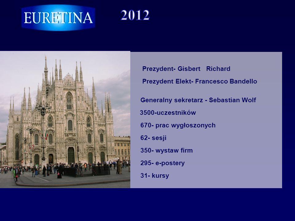 Prezydent- Gisbert Richard Prezydent Elekt- Francesco Bandello Generalny sekretarz - Sebastian Wolf 3500-uczestników 670- prac wygłoszonych 62- sesji