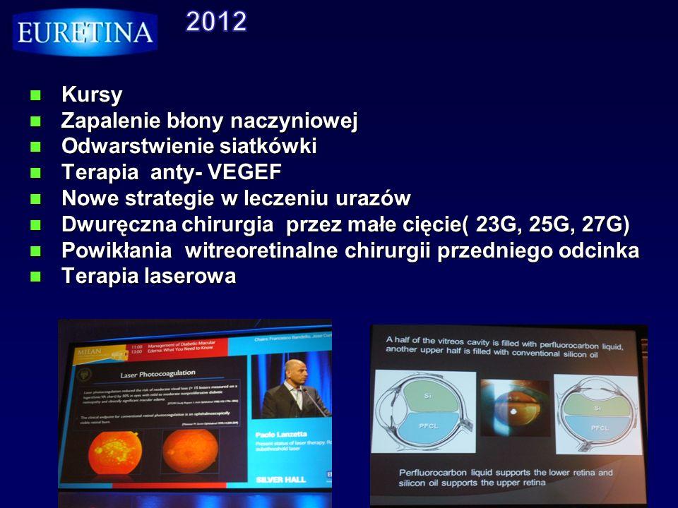 Kursy Kursy Zapalenie błony naczyniowej Zapalenie błony naczyniowej Odwarstwienie siatkówki Odwarstwienie siatkówki Terapia anty- VEGEF Terapia anty-