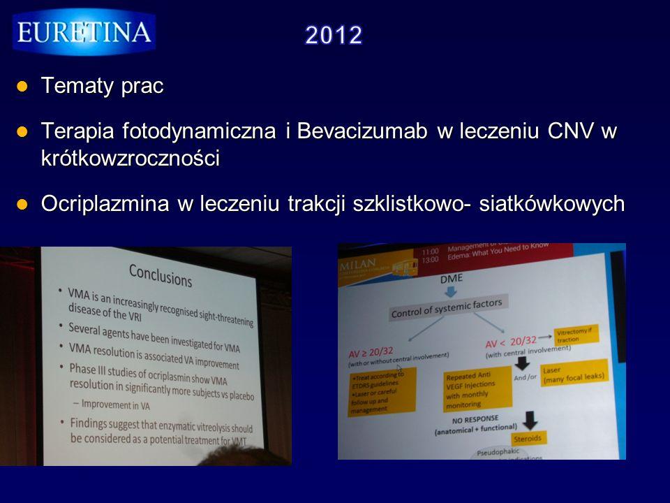 Tematy prac Tematy prac Terapia fotodynamiczna i Bevacizumab w leczeniu CNV w krótkowzroczności Terapia fotodynamiczna i Bevacizumab w leczeniu CNV w