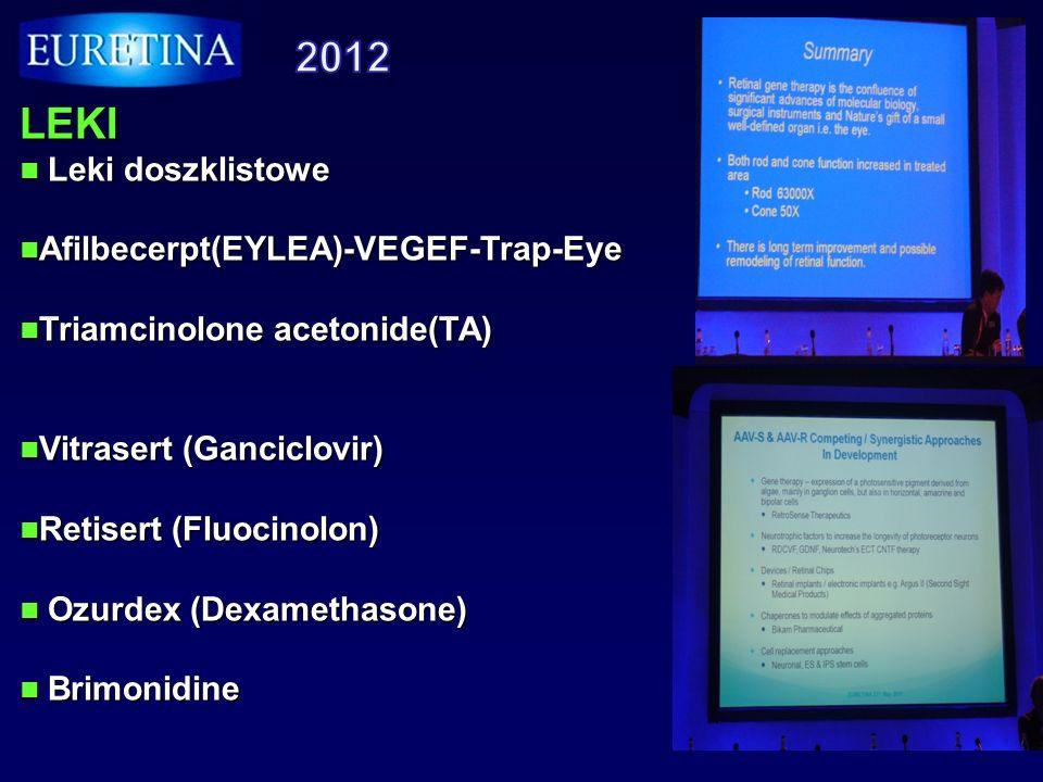 LECZENIE Leczeni genetyczne Leczeni genetyczne Argus II proteza siatkówki Argus II proteza siatkówki Implanty podsiatkowkowe Implanty podsiatkowkowe (alpha IMS) (alpha IMS) Leczenie komórkami pnia Leczenie komórkami pnia Cialiary neurotrophic factor Cialiary neurotrophic factor Procedura RD- PPV+IVTA Procedura RD- PPV+IVTA +Laser grid