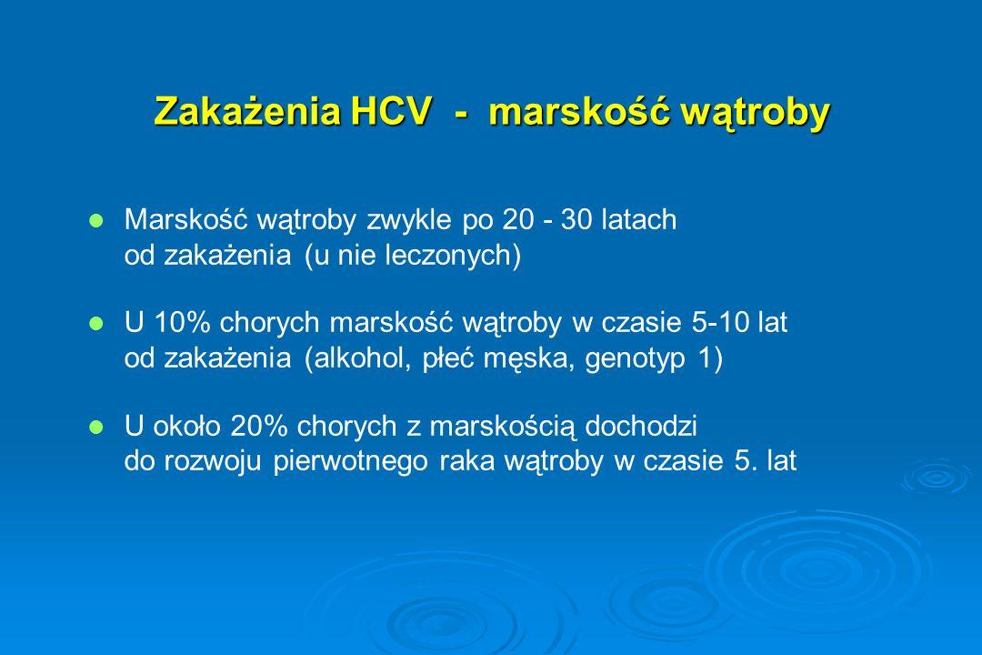 Zakażenia HCV - marskość wątroby Marskość wątroby zwykle po 20 - 30 latach od zakażenia (u nie leczonych) U 10% chorych marskość wątroby w czasie 5-10