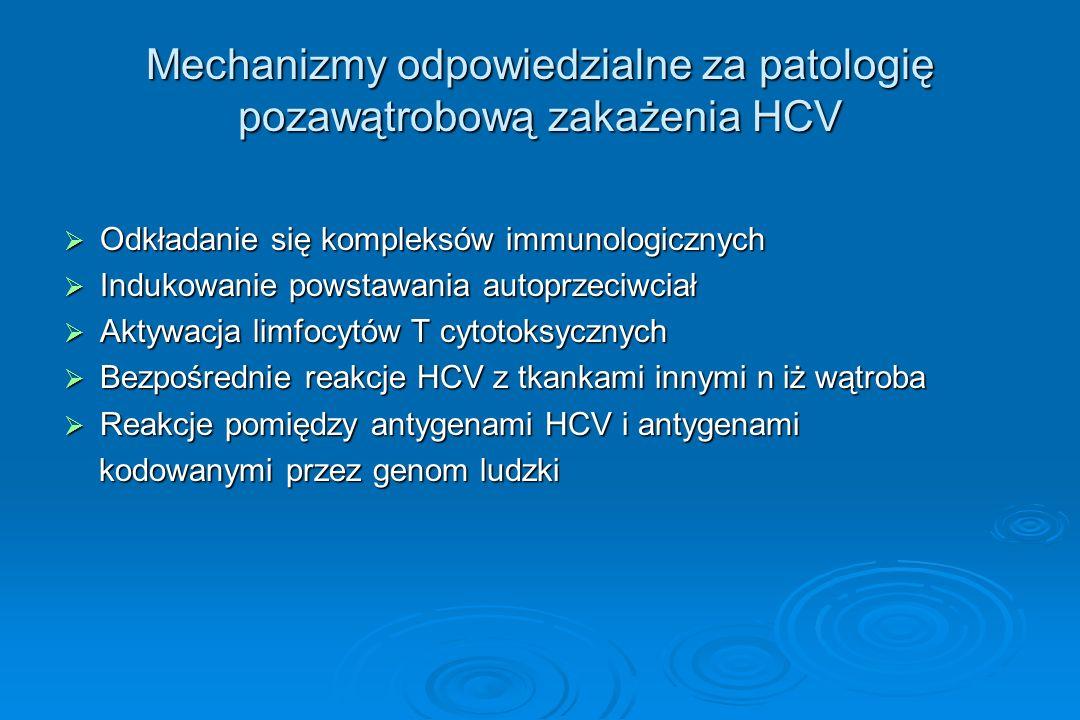 Mechanizmy odpowiedzialne za patologię pozawątrobową zakażenia HCV  Odkładanie się kompleksów immunologicznych  Indukowanie powstawania autoprzeciwc