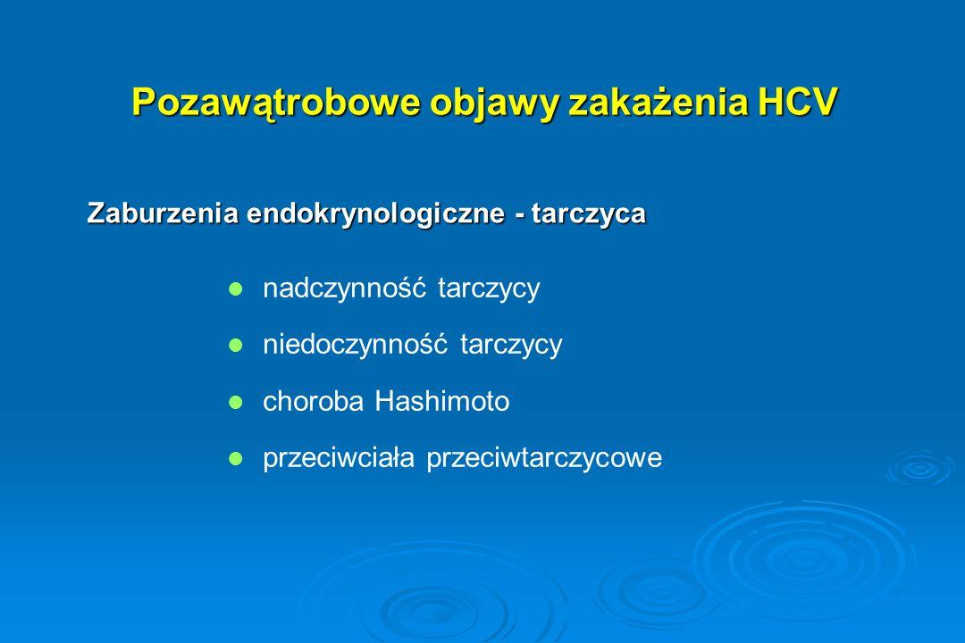 Pozawątrobowe objawy zakażenia HCV Zaburzenia endokrynologiczne - tarczyca nadczynność tarczycy niedoczynność tarczycy choroba Hashimoto przeciwciała