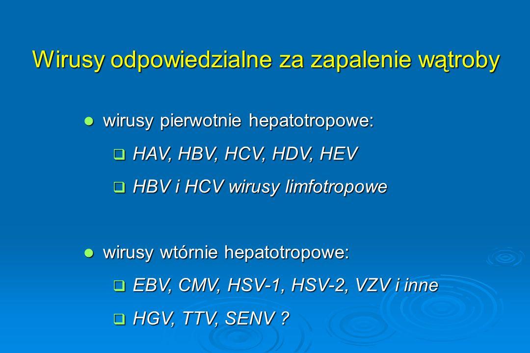Wirusy odpowiedzialne za zapalenie wątroby wirusy pierwotnie hepatotropowe: wirusy pierwotnie hepatotropowe:  HAV, HBV, HCV, HDV, HEV  HBV i HCV wir