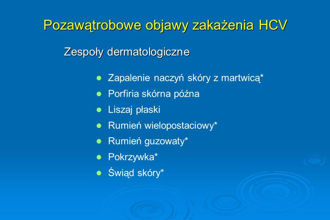 Pozawątrobowe objawy zakażenia HCV Zespoły dermatologiczne Zapalenie naczyń skóry z martwicą* Porfiria skórna późna Liszaj płaski Rumień wielopostacio