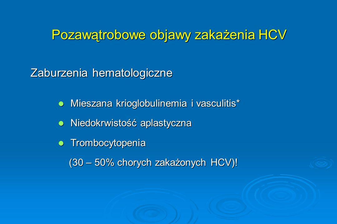 Pozawątrobowe objawy zakażenia HCV Zaburzenia hematologiczne Mieszana krioglobulinemia i vasculitis* Mieszana krioglobulinemia i vasculitis* Niedokrwi
