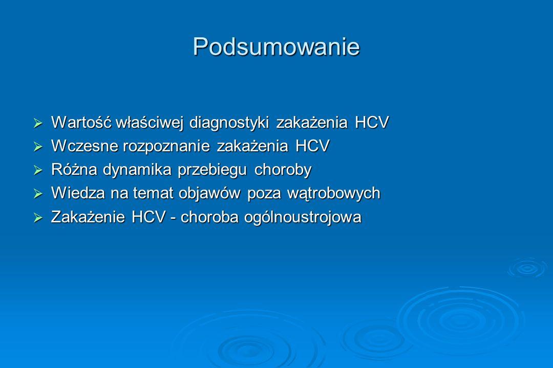 Podsumowanie  Wartość właściwej diagnostyki zakażenia HCV  Wczesne rozpoznanie zakażenia HCV  Różna dynamika przebiegu choroby  Wiedza na temat ob