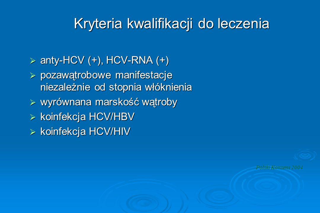 Kryteria kwalifikacji do leczenia  anty-HCV (+), HCV-RNA (+)  pozawątrobowe manifestacje niezależnie od stopnia włóknienia  wyrównana marskość wątr