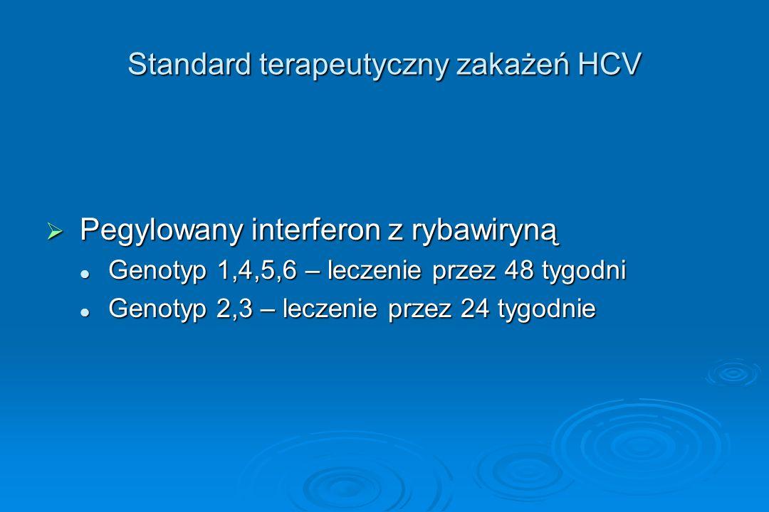 Standard terapeutyczny zakażeń HCV  Pegylowany interferon z rybawiryną Genotyp 1,4,5,6 – leczenie przez 48 tygodni Genotyp 1,4,5,6 – leczenie przez 4