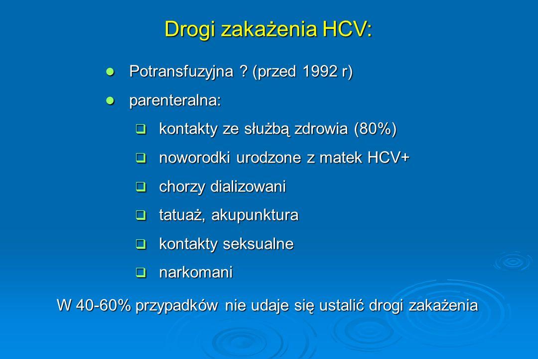 Genotypy HCV  6 głównych genotypów (1 – 6)  W Polsce u około 70% zakażonych genotyp 1b  Wpływ genotypu HCV na stopień uszkodzenia wątroby nieustalony  Mniejsza skuteczność leczenia u chorych z genotypem 1b  Dobra skuteczność (do 80%!) u osób z genotypem 2 i 3