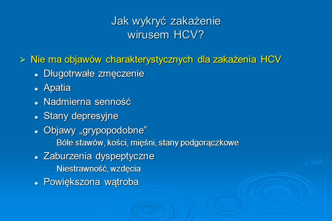 Jak wykryć zakażenie wirusem HCV?  Nie ma objawów charakterystycznych dla zakażenia HCV Długotrwałe zmęczenie Długotrwałe zmęczenie Apatia Apatia Nad