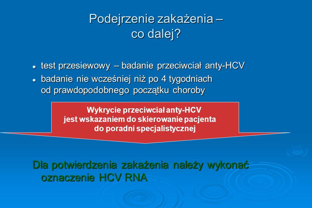 Podejrzenie zakażenia – co dalej? test przesiewowy – badanie przeciwciał anty-HCV test przesiewowy – badanie przeciwciał anty-HCV badanie nie wcześnie