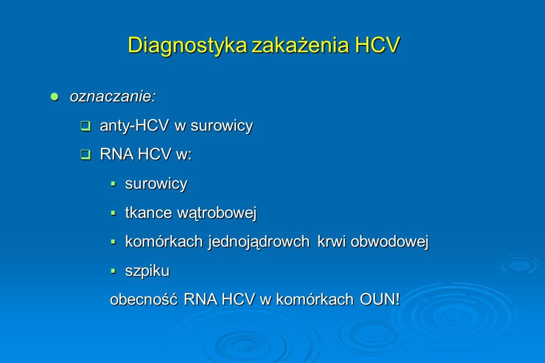 Diagnostyka zakażenia HCV oznaczanie: oznaczanie:  anty-HCV w surowicy  RNA HCV w:  surowicy  tkance wątrobowej  komórkach jednojądrowch krwi obw