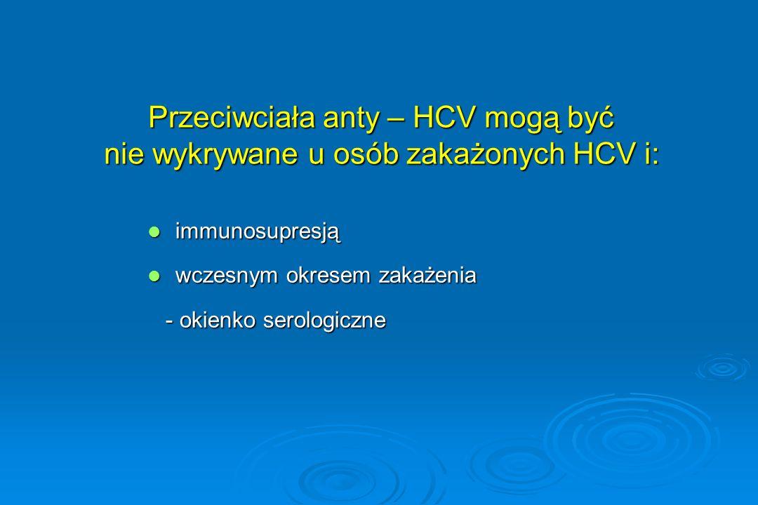 Przeciwciała anty – HCV mogą być nie wykrywane u osób zakażonych HCV i: immunosupresją immunosupresją wczesnym okresem zakażenia wczesnym okresem zaka