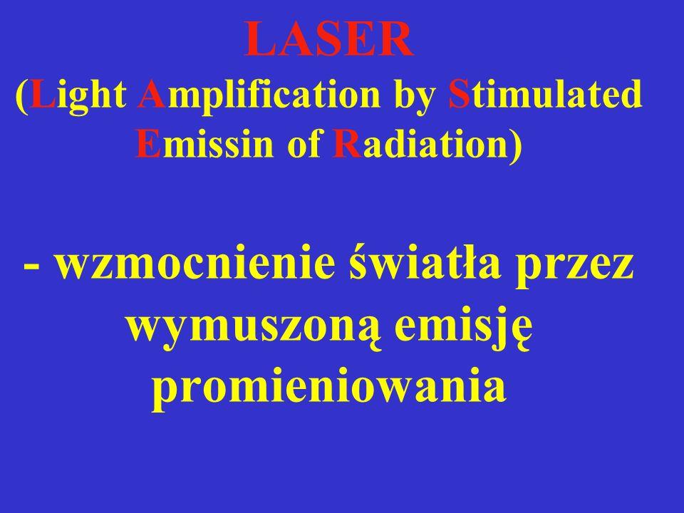 Promieniowanie laserowe - światło monochromatyczne - spójne - równoległe