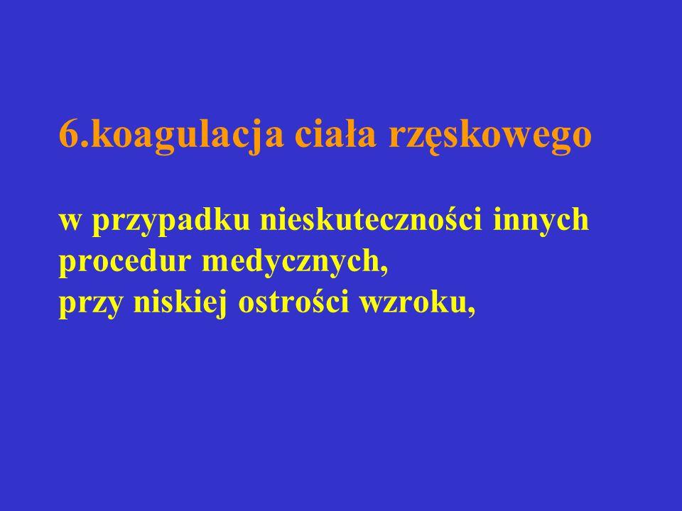 6.koagulacja ciała rzęskowego w przypadku nieskuteczności innych procedur medycznych, przy niskiej ostrości wzroku,