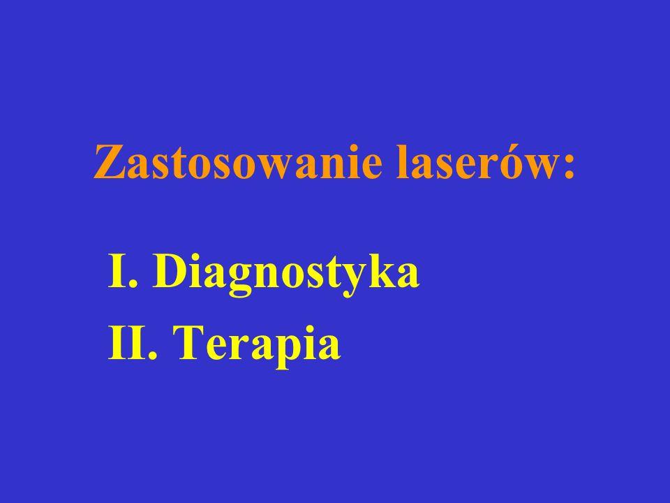 Zastosowanie laserów: I. Diagnostyka II. Terapia