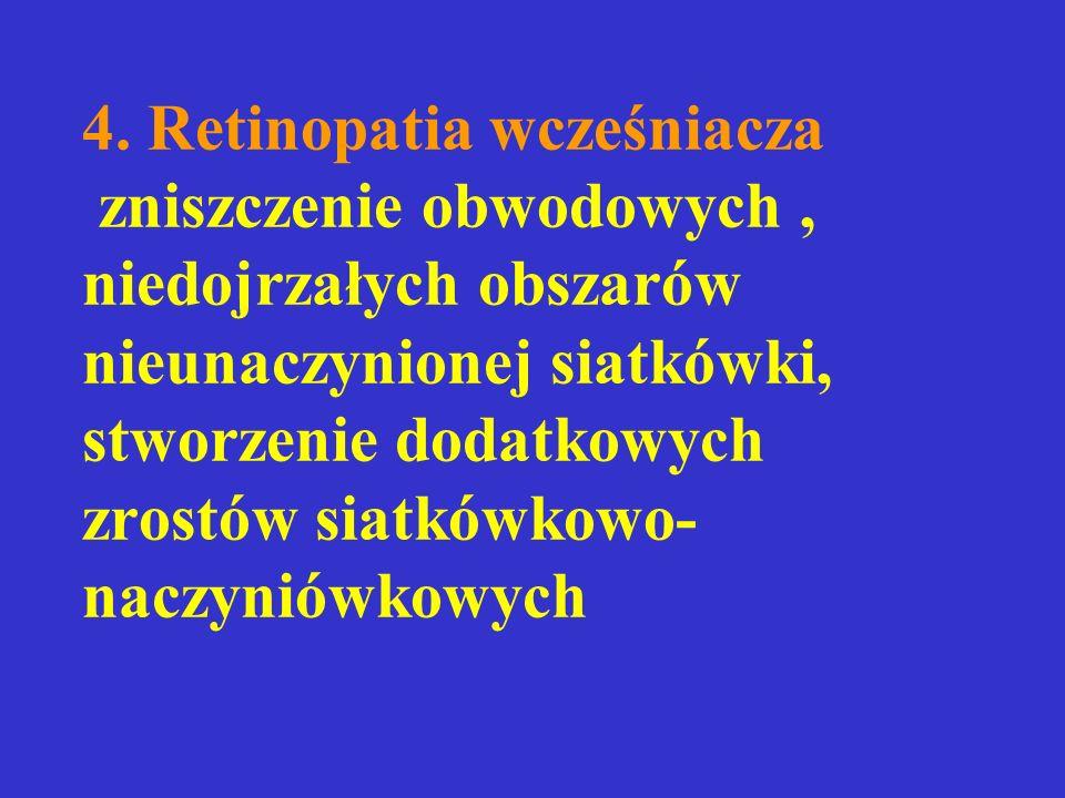 4. Retinopatia wcześniacza zniszczenie obwodowych, niedojrzałych obszarów nieunaczynionej siatkówki, stworzenie dodatkowych zrostów siatkówkowo- naczy