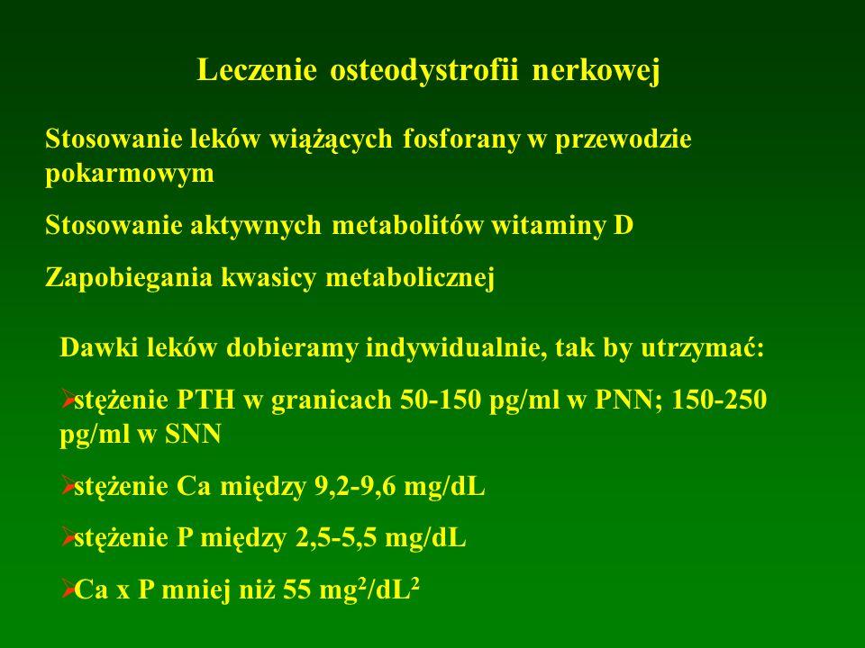 Leczenie osteodystrofii nerkowej Stosowanie leków wiążących fosforany w przewodzie pokarmowym Stosowanie aktywnych metabolitów witaminy D Zapobiegania kwasicy metabolicznej Dawki leków dobieramy indywidualnie, tak by utrzymać:   stężenie PTH w granicach 50-150 pg/ml w PNN; 150-250 pg/ml w SNN   stężenie Ca między 9,2-9,6 mg/dL   stężenie P między 2,5-5,5 mg/dL   Ca x P mniej niż 55 mg 2 /dL 2