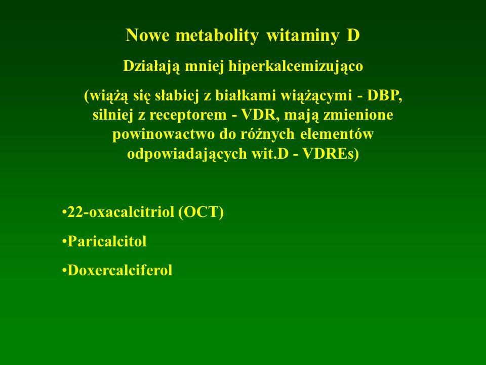 Nowe metabolity witaminy D Działają mniej hiperkalcemizująco (wiążą się słabiej z białkami wiążącymi - DBP, silniej z receptorem - VDR, mają zmienione powinowactwo do różnych elementów odpowiadających wit.D - VDREs) 22-oxacalcitriol (OCT) Paricalcitol Doxercalciferol