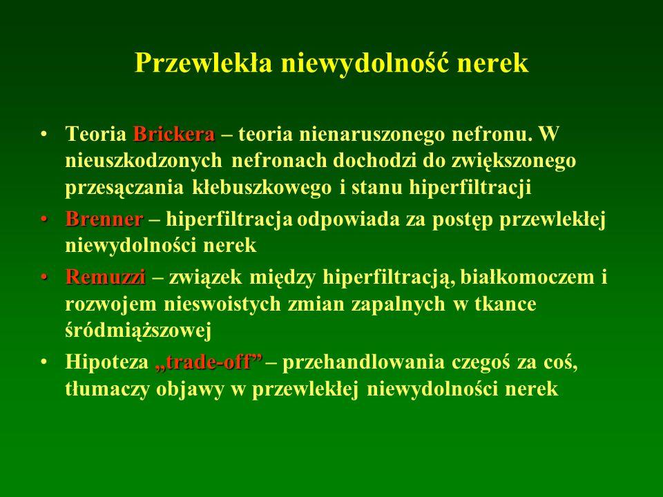 Przewlekła niewydolność nerek BrickeraTeoria Brickera – teoria nienaruszonego nefronu. W nieuszkodzonych nefronach dochodzi do zwiększonego przesączan