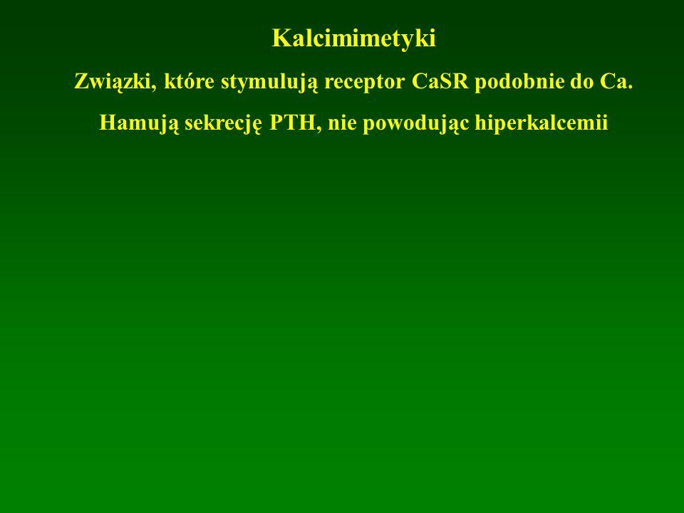 Kalcimimetyki Związki, które stymulują receptor CaSR podobnie do Ca. Hamują sekrecję PTH, nie powodując hiperkalcemii