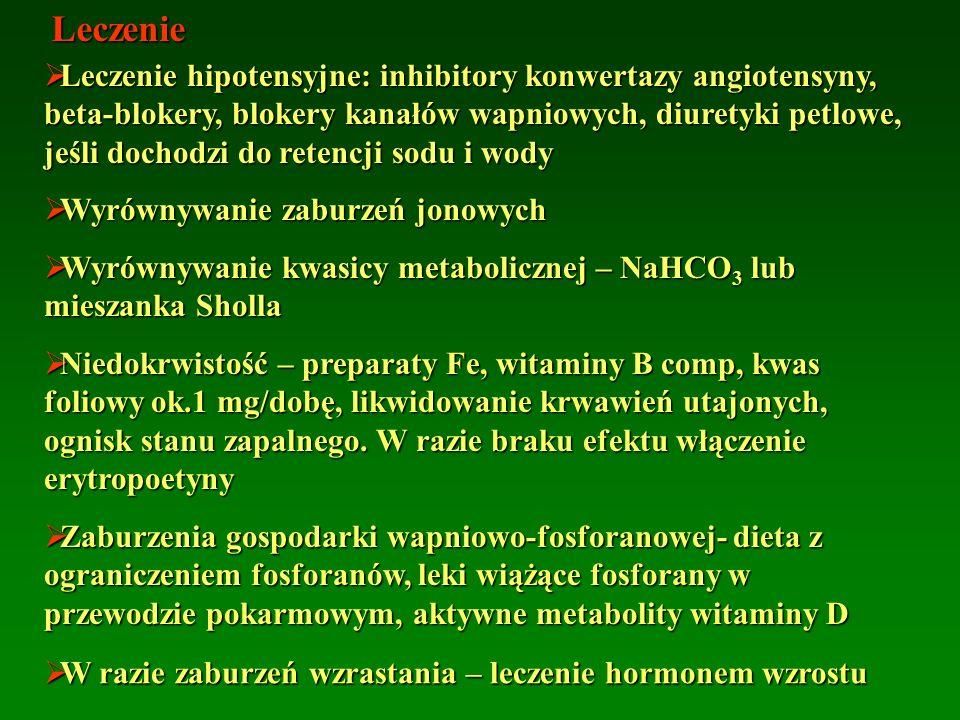 Leczenie  Leczenie hipotensyjne: inhibitory konwertazy angiotensyny, beta-blokery, blokery kanałów wapniowych, diuretyki petlowe, jeśli dochodzi do retencji sodu i wody  Wyrównywanie zaburzeń jonowych  Wyrównywanie kwasicy metabolicznej – NaHCO 3 lub mieszanka Sholla  Niedokrwistość – preparaty Fe, witaminy B comp, kwas foliowy ok.1 mg/dobę, likwidowanie krwawień utajonych, ognisk stanu zapalnego.