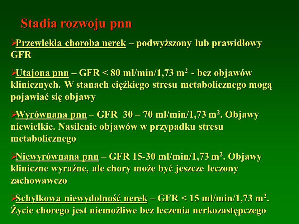 Stadia rozwoju pnn  Przewlekła choroba nerek – podwyższony lub prawidłowy GFR  Utajona pnn – GFR < 80 ml/min/1,73 m 2 - bez objawów klinicznych. W s