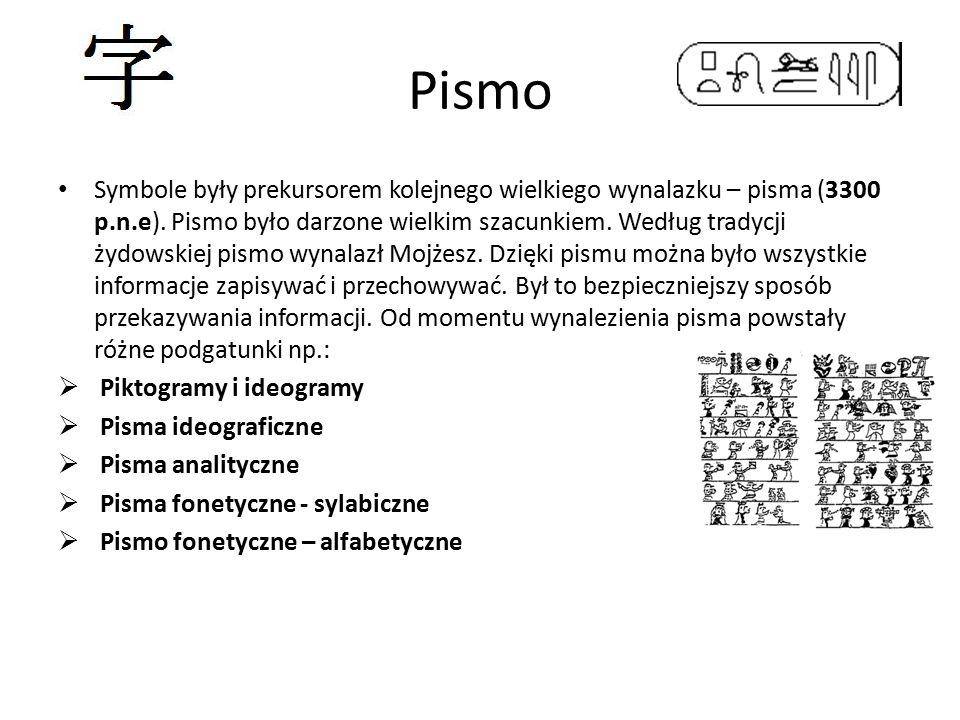 Pismo Symbole były prekursorem kolejnego wielkiego wynalazku – pisma (3300 p.n.e). Pismo było darzone wielkim szacunkiem. Według tradycji żydowskiej p