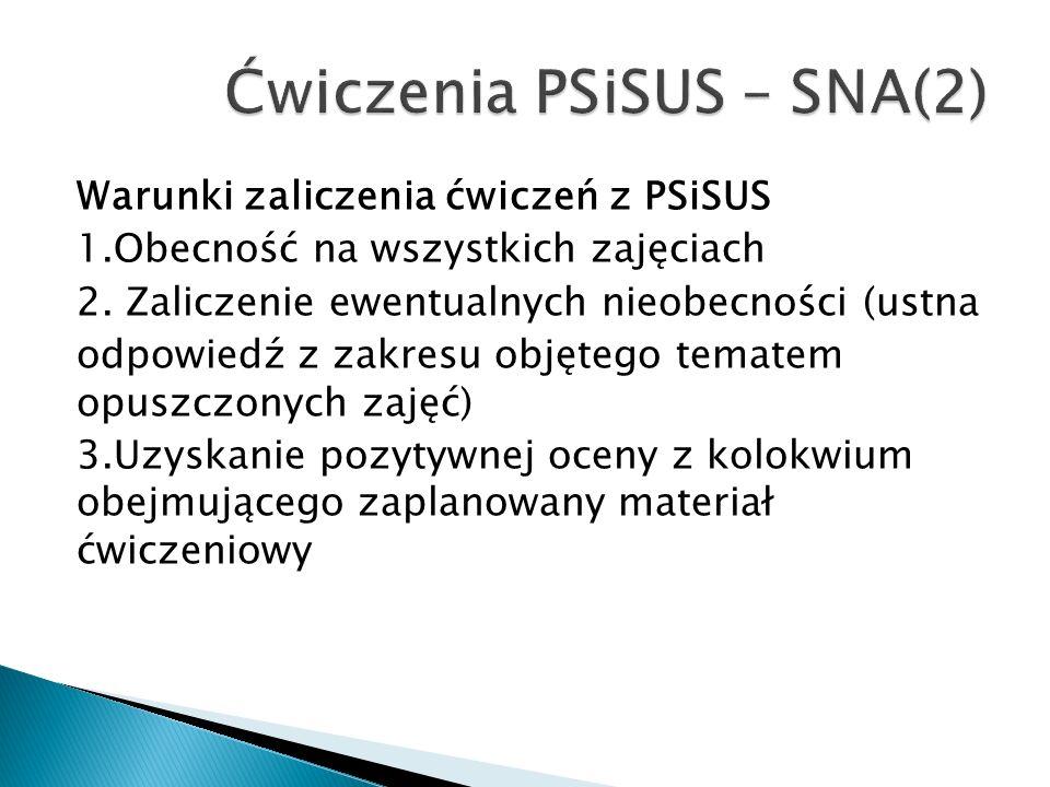 Warunki zaliczenia ćwiczeń z PSiSUS 1.Obecność na wszystkich zajęciach 2.