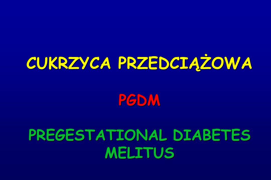 CUKRZYCA PRZEDCIĄŻOWA PGDM PREGESTATIONAL DIABETES MELITUS