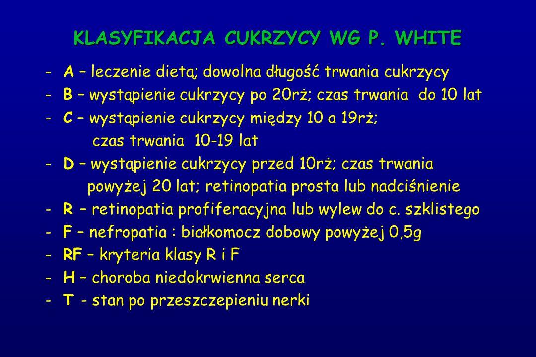 KLASYFIKACJA CUKRZYCY WG P. WHITE - -A – leczenie dietą; dowolna długość trwania cukrzycy - -B – wystąpienie cukrzycy po 20rż; czas trwania do 10 lat