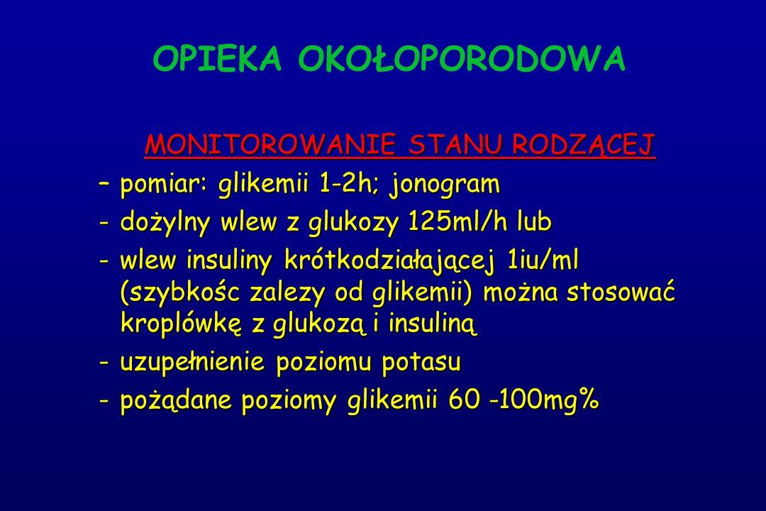 OPIEKA OKOŁOPORODOWA MONITOROWANIE STANU RODZĄCEJ –pomiar: glikemii 1-2h; jonogram -dożylny wlew z glukozy 125ml/h lub -wlew insuliny krótkodziałającej 1iu/ml (szybkośc zalezy od glikemii) można stosować kroplówkę z glukozą i insuliną -uzupełnienie poziomu potasu -pożądane poziomy glikemii 60 -100mg%