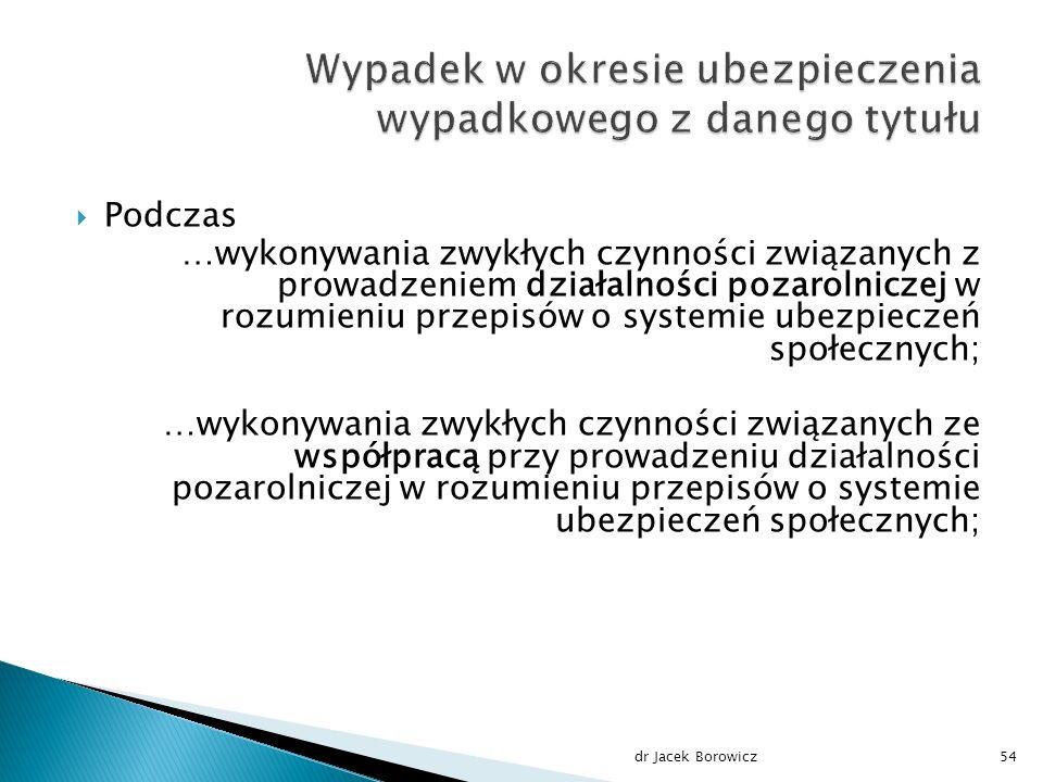  Podczas …wykonywania zwykłych czynności związanych z prowadzeniem działalności pozarolniczej w rozumieniu przepisów o systemie ubezpieczeń społecznych; …wykonywania zwykłych czynności związanych ze współpracą przy prowadzeniu działalności pozarolniczej w rozumieniu przepisów o systemie ubezpieczeń społecznych; dr Jacek Borowicz54