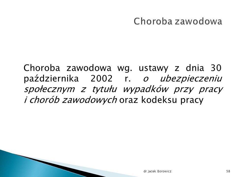 Choroba zawodowa wg. ustawy z dnia 30 października 2002 r.
