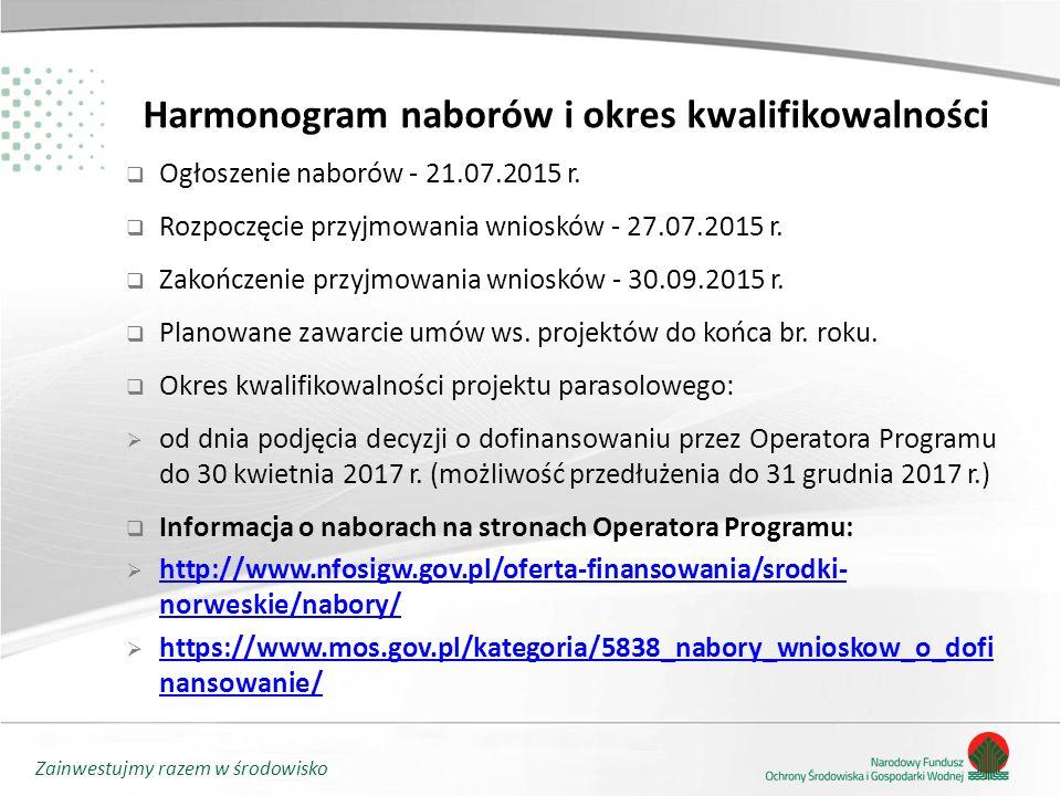 Zainwestujmy razem w środowisko Harmonogram naborów i okres kwalifikowalności  Ogłoszenie naborów - 21.07.2015 r.  Rozpoczęcie przyjmowania wniosków