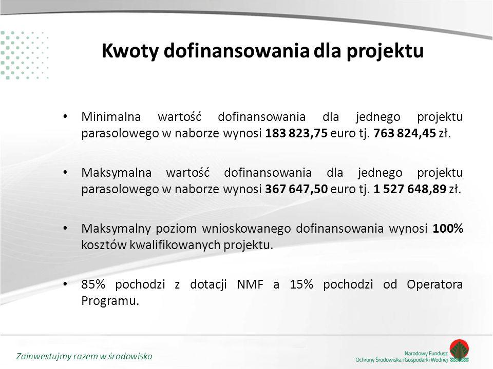 Zainwestujmy razem w środowisko Kwoty dofinansowania dla projektu Minimalna wartość dofinansowania dla jednego projektu parasolowego w naborze wynosi 183 823,75 euro tj.
