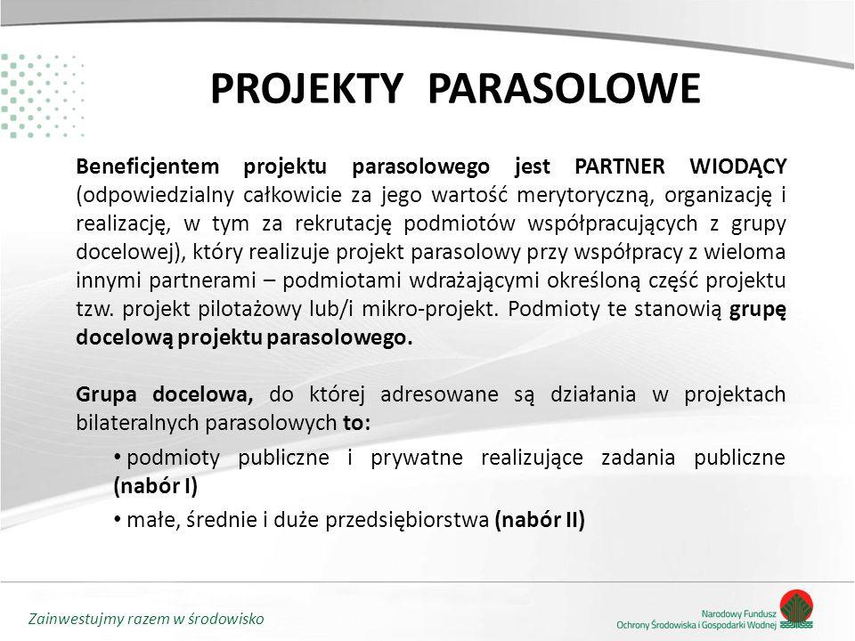 Zainwestujmy razem w środowisko PROJEKTY PARASOLOWE Beneficjentem projektu parasolowego jest PARTNER WIODĄCY (odpowiedzialny całkowicie za jego wartość merytoryczną, organizację i realizację, w tym za rekrutację podmiotów współpracujących z grupy docelowej), który realizuje projekt parasolowy przy współpracy z wieloma innymi partnerami – podmiotami wdrażającymi określoną część projektu tzw.